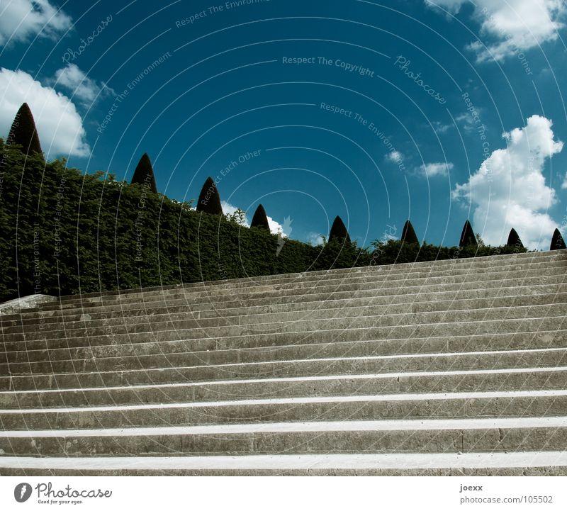 Höhere Ebene Himmel Baum Wolken Garten Stein Park Treppe Sträucher Frankreich historisch aufsteigen Hecke Schlosspark