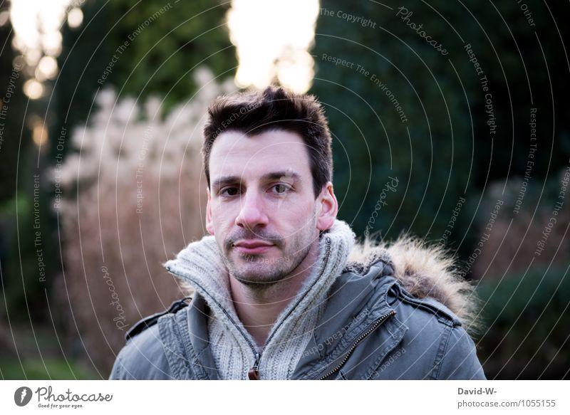 noch ist es kühl Mensch Jugendliche Mann schön grün ruhig Junger Mann 18-30 Jahre kalt Erwachsene Gesicht natürlich Garten braun Kopf Lifestyle