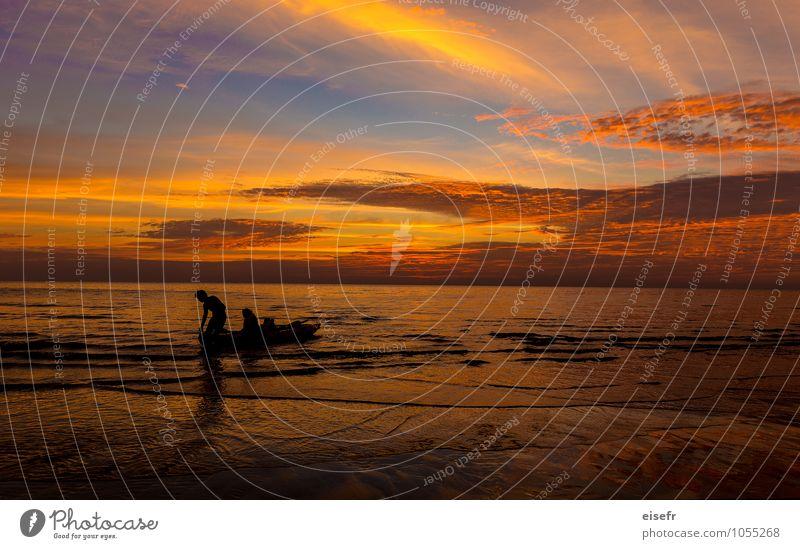 Sonnenuntergang in Koh Chang (Thailand) Freude Ferien & Urlaub & Reisen Tourismus Abenteuer Sommer Sommerurlaub Strand Meer Insel 2 Mensch Erholung Fitness
