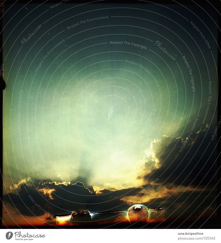 abendrot mit fehlern Wolken Graffiti Stimmung Tod Ende Mittelformat analog Sonnenuntergang Sommernacht spät Entwicklung negativ Himmelskörper & Weltall Lachmöwe