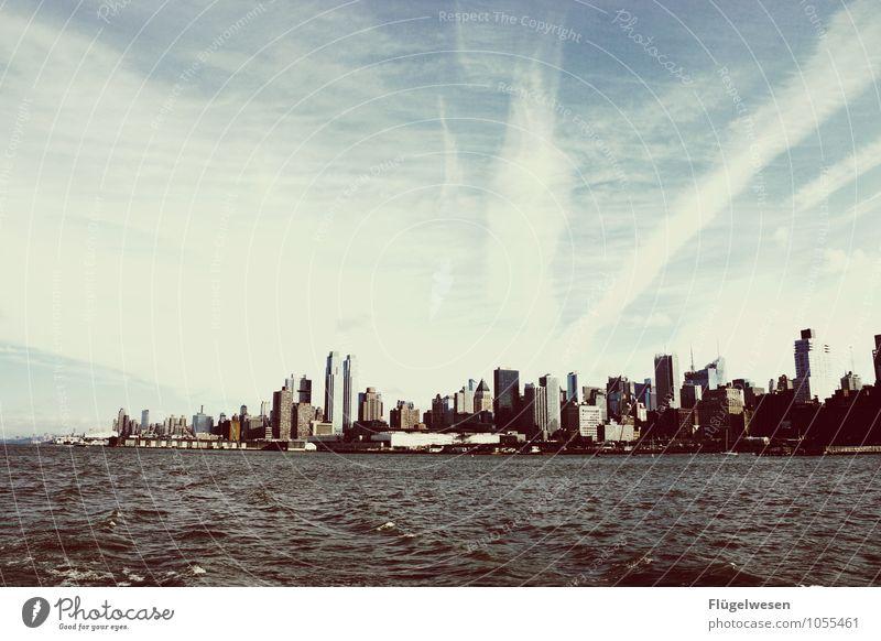 City of New York Skyline h) Ferien & Urlaub & Reisen Tourismus Ausflug Ferne Freiheit Sightseeing Städtereise überbevölkert Hochhaus Bauwerk Gebäude Architektur