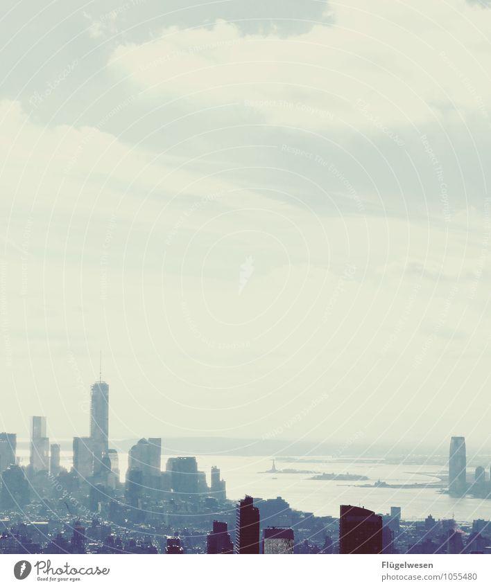 City of New York Skyline r) Ferien & Urlaub & Reisen Tourismus Ausflug Ferne Freiheit Sightseeing Städtereise überbevölkert Hochhaus Bauwerk Gebäude Architektur