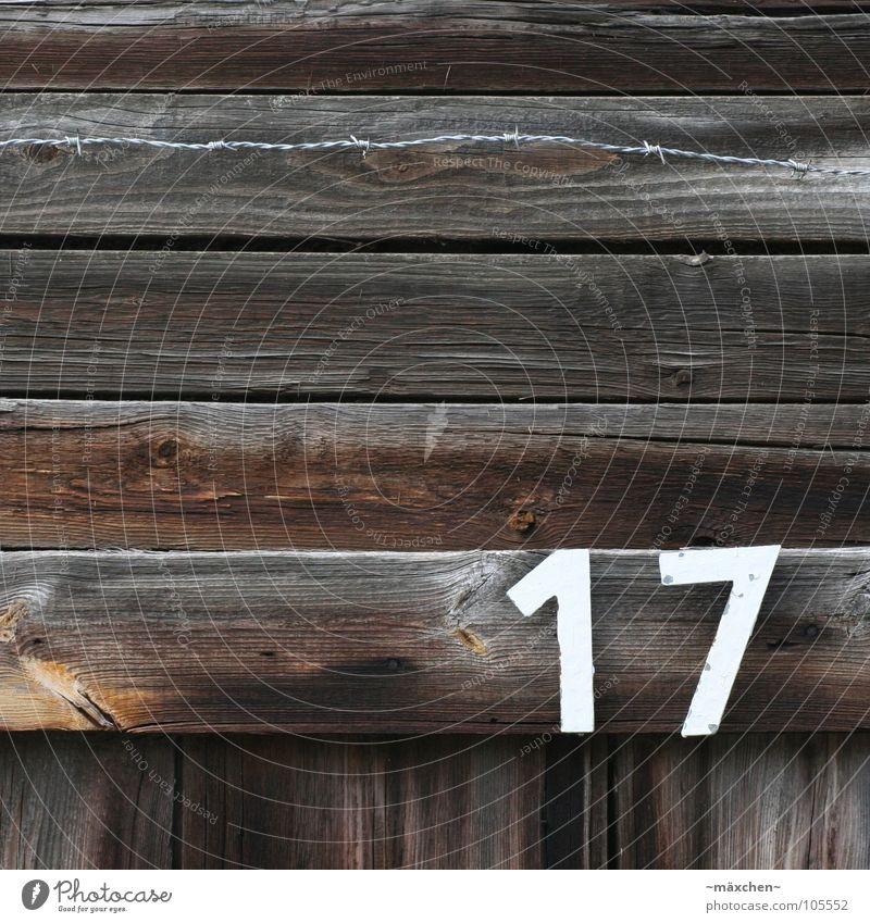 17 - siebzehn / seventeen alt weiß schwarz dunkel Holz hell braun Ziffern & Zahlen Zaun Stacheldraht Holzmehl angebrannt Hausnummer Maschendrahtzaun