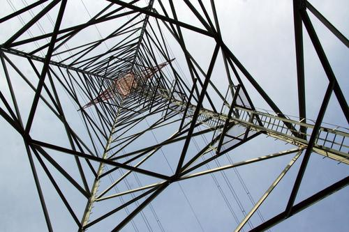 MAST blau Himmel (Jenseits) Ferne schwarz Energiewirtschaft Technik & Technologie Zukunft Industrie Unendlichkeit fest Wissenschaften Wirtschaft nachhaltig