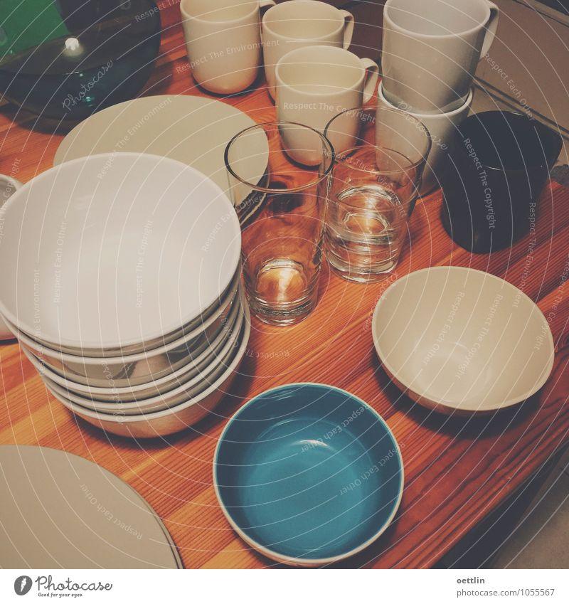 Nach dem Spülen ist vor dem Spülen blau weiß schwarz Essen Stil Stein braun Design frisch elegant Glas ästhetisch Coolness Küche Kunststoff