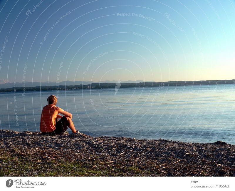 'Chill-out-zone' Wasser Himmel blau Sommer Strand See orange Alpen genießen Bayern Starnberger See