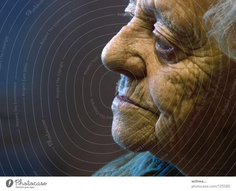 weißhaarige Seniorin mit vielen Runzeln erinnert sich Frau Ruhestand Alter Mensch Weiblicher Senior Großmutter Kopf Gesicht alt Weisheit Erfahrung Lebensalter