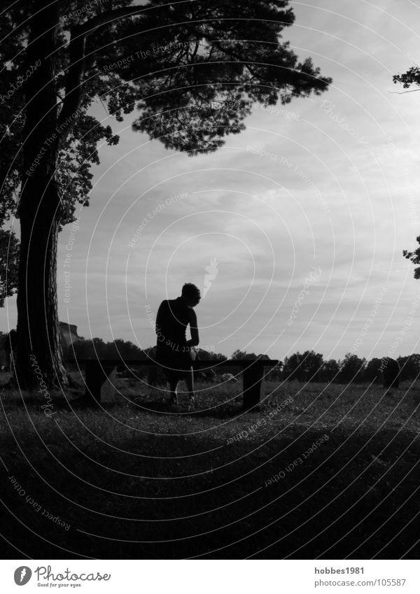 Probleme auf der Bank Mensch Frau Natur Jugendliche weiß Baum Einsamkeit schwarz Wiese Gefühle Gras grau Garten Traurigkeit Park kaputt