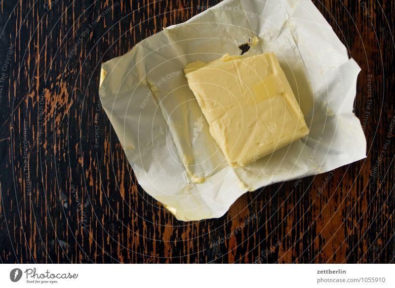 Butter Küche Tisch Vogelperspektive Molkerei Milch Milcherzeugnisse Ernährung Gesunde Ernährung Speise Essen Foodfotografie Fett Übergewicht Cholesterin