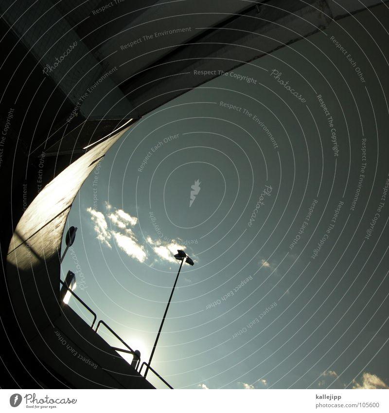 C Verkehr Regel Autobahn Parkhaus Laterne Licht Gegenlicht Beton Strukturen & Formen Richtung parken Schranke Aussicht Luft Architektur Brücke Straße Ordnung
