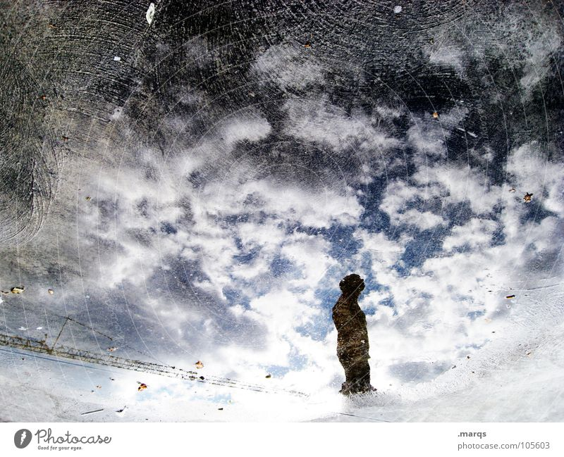 Ein Gedanke Mensch Wasser Himmel ruhig Wolken Straße Gefühle träumen Denken Stimmung Beleuchtung warten Wind Suche stehen Bodenbelag