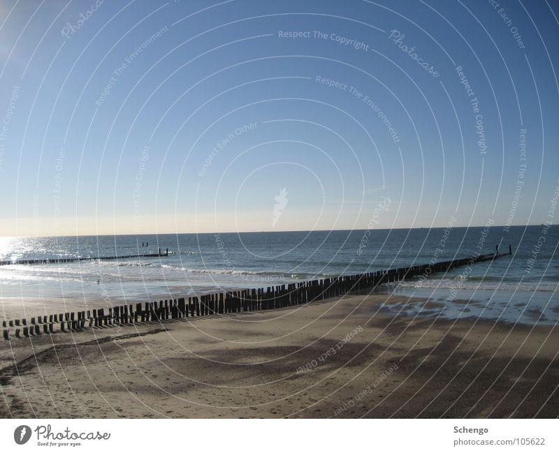 Stranderholung Niederlande Zeeland Erholung erholsam Ferien & Urlaub & Reisen Meer See Nordsee Küste Sand Himmel Sommer Sonne Poller Wellen Buhne beige blau