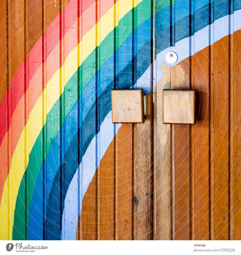 Frühlingsanfang Eingangstür Tür Regenbogen Zeichen Graffiti schön mehrfarbig Gefühle Frühlingsgefühle Beginn Farbe Religion & Glaube Zukunft Paradies Farbfoto