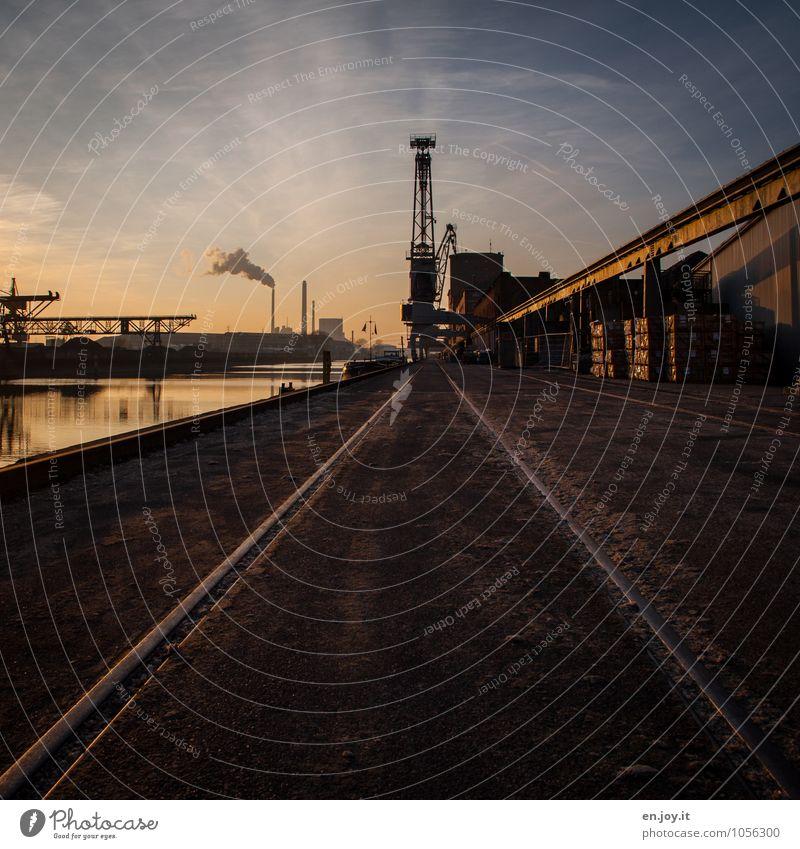 Privatanschluss Fabrik Industrie Güterverkehr & Logistik Feierabend Maschine Energiewirtschaft Kohlekraftwerk Wasser Himmel Fluss Rhein Stadt Hafen Verkehrswege