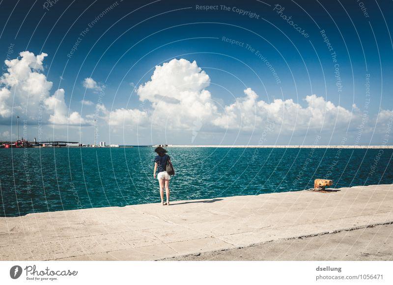 kippt nach vorne. Mensch Himmel Ferien & Urlaub & Reisen Jugendliche Junge Frau Meer Wolken 18-30 Jahre Ferne Erwachsene feminin Küste Horizont Zufriedenheit
