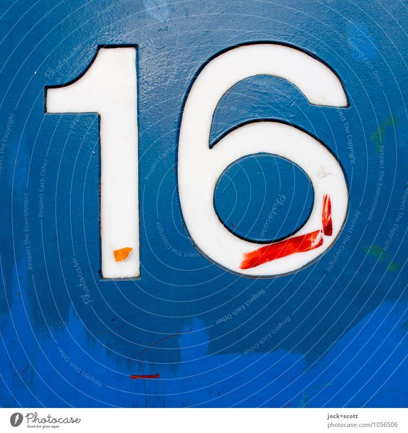 Sechzehn aus Metall geformt Stil sparen Typographie Kunsthandwerk Lack Schilder & Markierungen 16 einfach fest blau Stimmung Wahrheit authentisch Ordnungsliebe