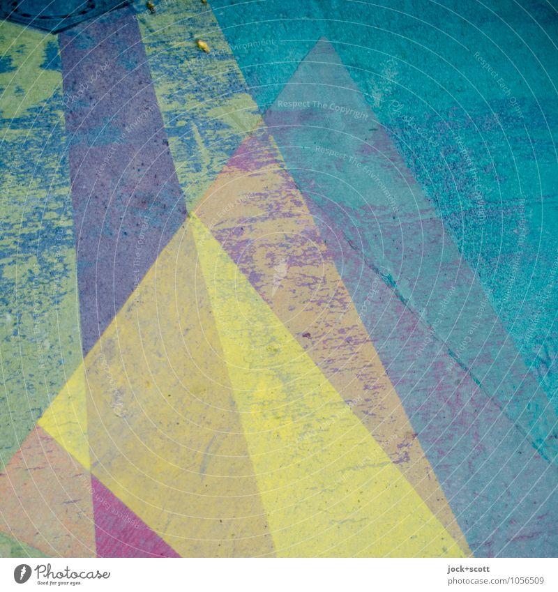 umherstreifen auf der Oberfläche Stil Grafik u. Illustration Verkehrswege Straße Fahrbahnmarkierung Asphalt Streifen eckig einzigartig positiv gelb türkis