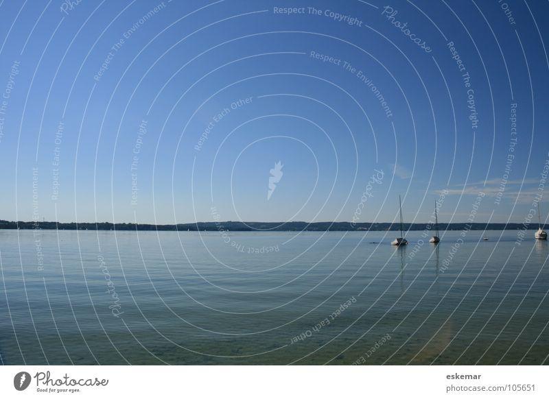 Starnberger See Himmel Natur blau Wasser Ferien & Urlaub & Reisen Erholung Ferne Landschaft Küste Deutschland Wasserfahrzeug Wetter groß Tourismus