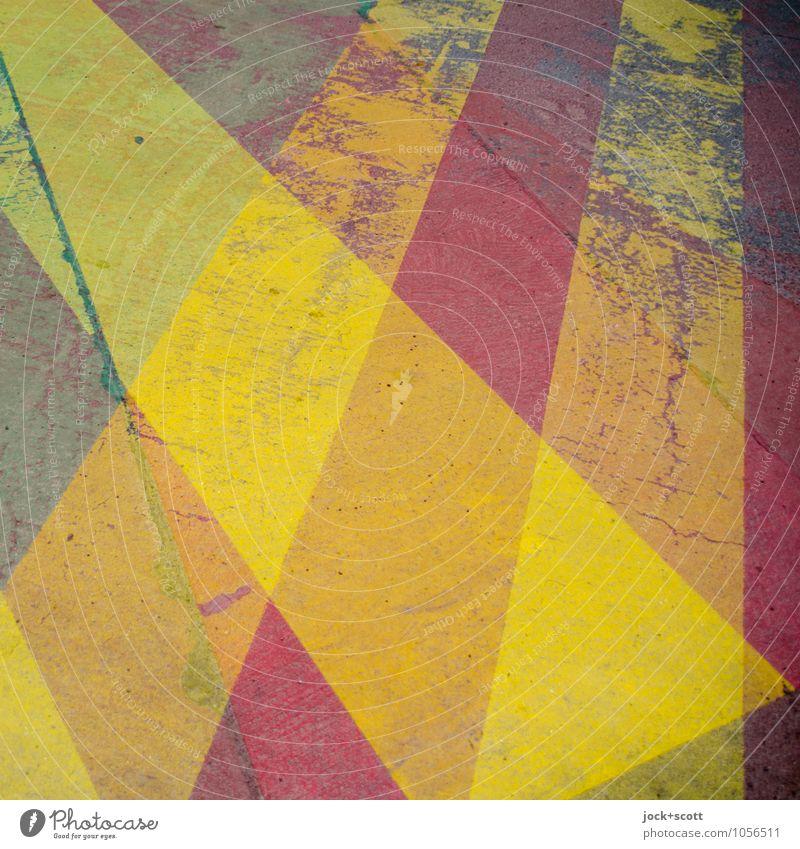 Streifzug auf der Oberfläche Grafik u. Illustration Verkehrswege Straße Fahrbahnmarkierung Asphalt Streifen gelb Sicherheit Zahn der Zeit Doppelbelichtung