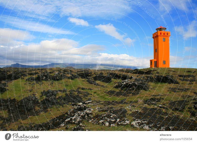 Lighthouse on Snæfellsnes Himmel ruhig Wolken Ferne Berge u. Gebirge orange Turm Island Leuchtturm mystisch Gletscher Vulkan Lava beruhigend Glacier Nationalpark Snæfellsnes