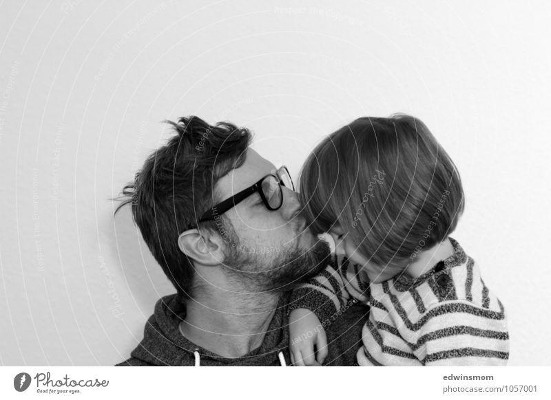 Papa und Sohn Mensch Kind Mann weiß schwarz Erwachsene Gefühle Liebe Junge Haare & Frisuren hell Kopf Zusammensein Familie & Verwandtschaft maskulin Kindheit