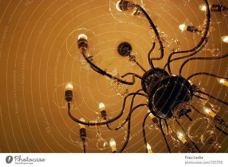 Es werde Licht! Lampe dunkel Wand hell Glas Wohnzimmer Decke Glühbirne Erkenntnis Zimmerdecke Kronleuchter