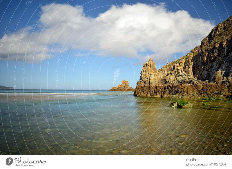 mein Desktophintergrund Natur Landschaft Wasser Himmel Wolken Horizont Sonnenlicht Sommer Klima Wetter Schönes Wetter Felsen Küste Strand Riff Meer blau braun