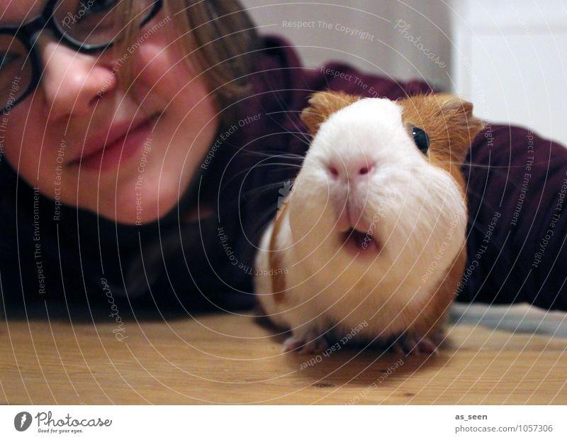 First let´s take a selfie! Mädchen 1 Mensch 8-13 Jahre Kind Kindheit 13-18 Jahre Jugendliche Tier Haustier Tiergesicht Zoo Streichelzoo Meerschweinchen Nagetier