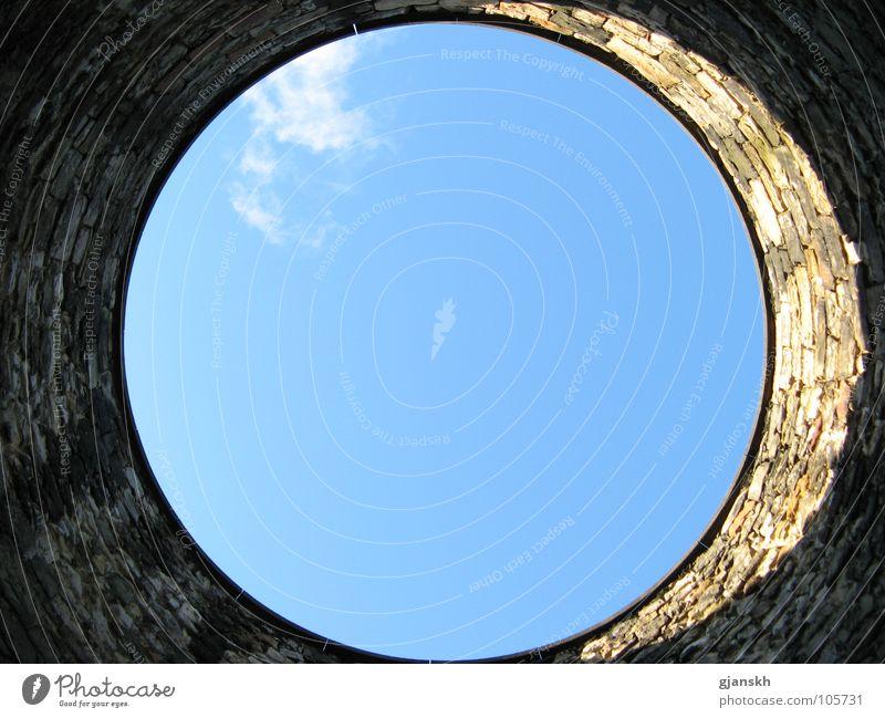 Luftloch Himmel Wolken Stein Turm Friedhof Schottland Edinburgh