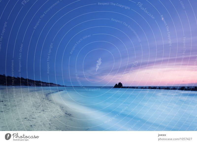 Die eigene Welt Landschaft Wasser Himmel Horizont Sonnenaufgang Sonnenuntergang Schönes Wetter Strand Ostsee Meer Unendlichkeit schön blau rosa schwarz ruhig