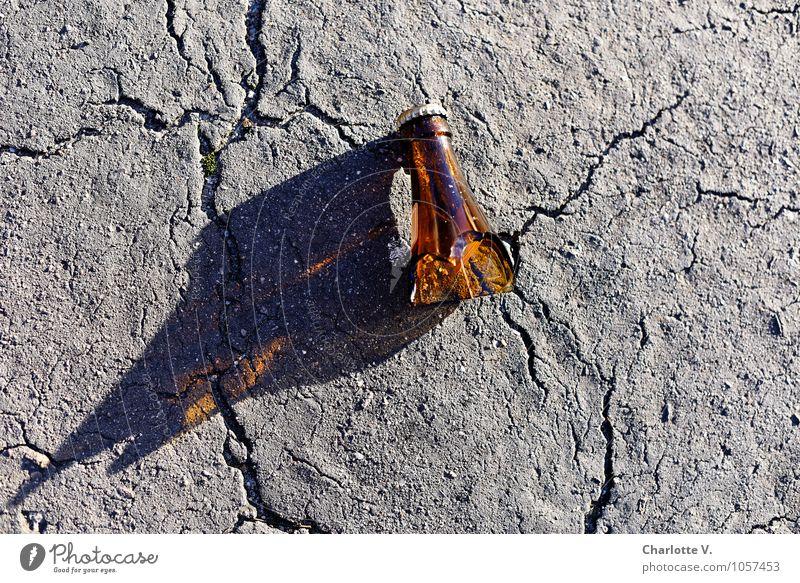 Ich hab´ so einen Hals! Einsamkeit grau braun glänzend liegen leuchten Glas ästhetisch Beton kaputt Boden Scharfer Gegenstand Asphalt ausdruckslos Verfall Bier