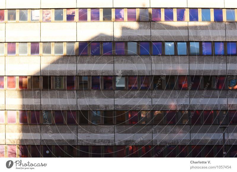 Buntes Glimmen im Schatten alt blau rot Fenster Architektur Gebäude Berlin grau Deutschland Fassade leuchten Design authentisch Glas Hochhaus Beton