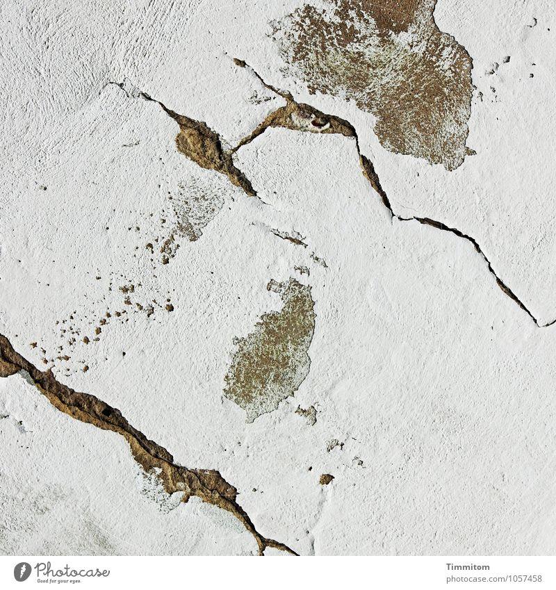 Chefsache. weiß schwarz Wand Mauer Linie braun ästhetisch einfach Riss Putz abblättern