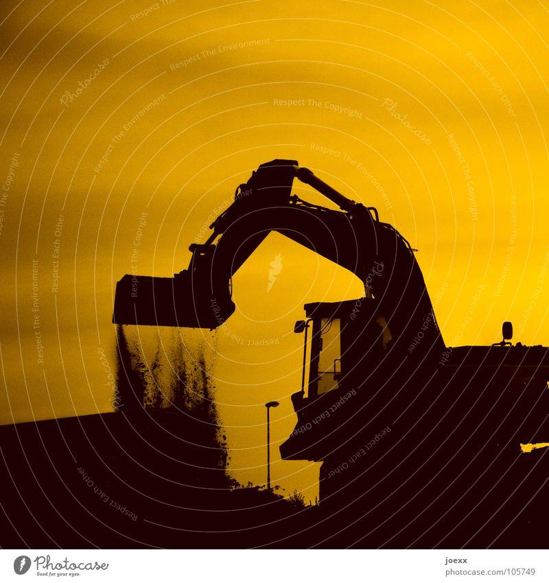 Gruben graben Himmel gelb Gras Sand Landschaft orange Bauarbeiter Erde Baustelle Hügel Laterne Handwerk Maschine Loch Bergbau Bagger