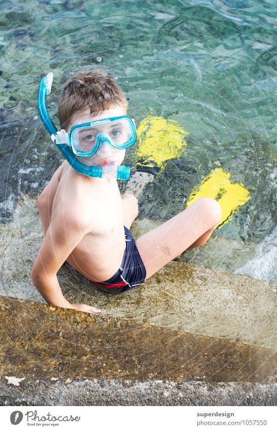 Tauchgang Ferien & Urlaub & Reisen Sommer Sonne Meer Freude Strand Junge Freizeit & Hobby Angst Kindheit Ausflug Fitness Abenteuer dünn Risiko Gelassenheit