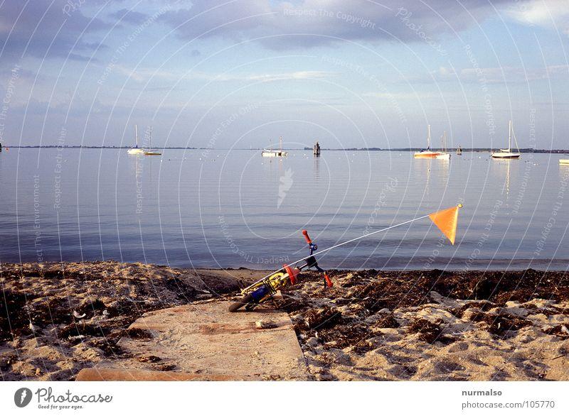abgestiegen . . . Meer blau Sommer Strand Ferne Wege & Pfade Wasserfahrzeug Stimmung Fahrrad Fahne Ende liegen Spuren Ostsee Algen Kinderfahrrad