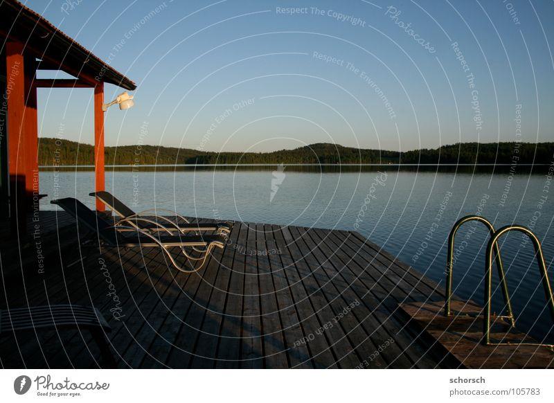 Saunasee Steg Holz Wald See Sonnenuntergang Liege Wasser Schweden Leiter