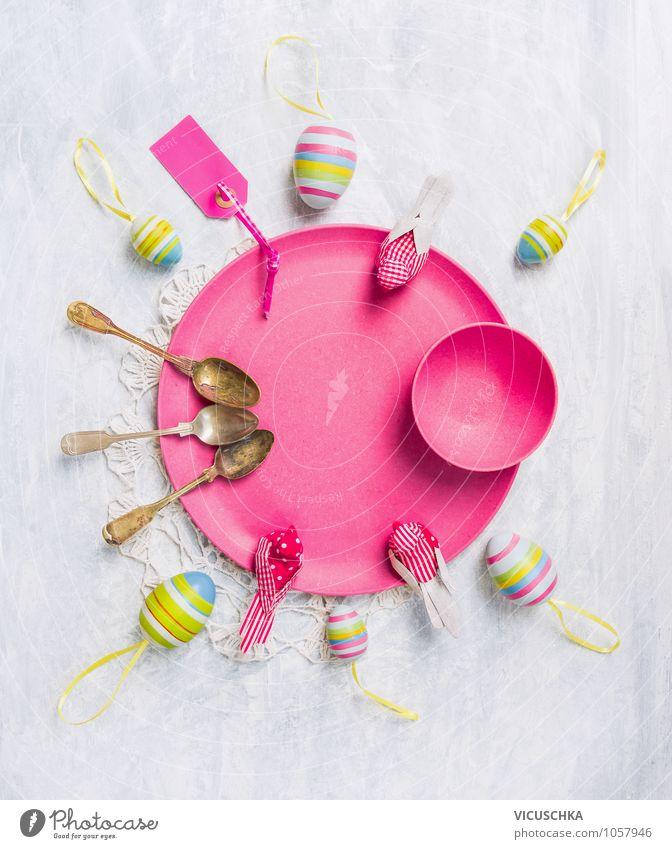 Pink Teller mit Ostereier, Löffel und Dekoration Natur Innenarchitektur Frühling Stil Feste & Feiern Hintergrundbild Vogel rosa Freizeit & Hobby