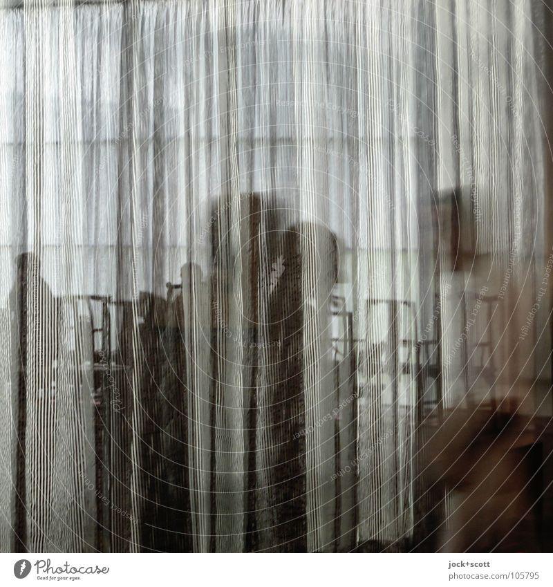 Leute schemenhaft im Pavillon Menschengruppe Veranstaltung Stoff hängen laufen stehen modern Schutz Einigkeit Identität Pause Wege & Pfade Zeit Vorhang