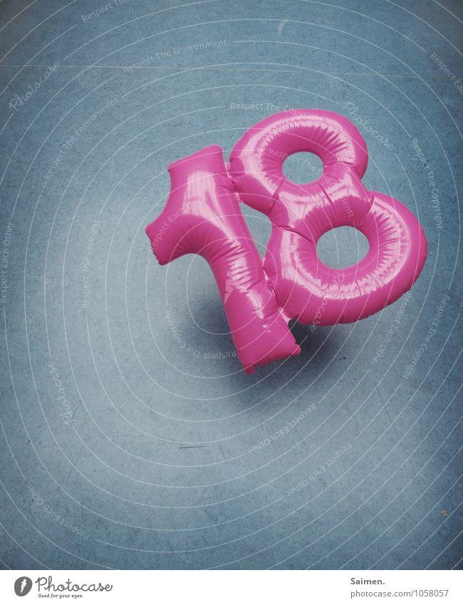 18 ist ne gute zahl Zeichen Ziffern & Zahlen fallen blau rosa glänzend Bodenbelag Kunststoff aufblasbar Geburtstag Dekoration & Verzierung mehrfarbig