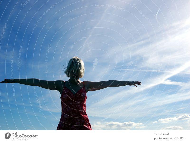 On.the.way. schwarz Vogel fremd Kleid Gleichgewicht Zufriedenheit Dach Suizidalität gefährlich Todesangst rot blond weiß Wolken Sommertag kindisch kindlich