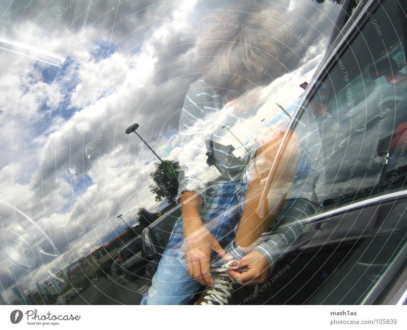 cloudboy Kind Sommer Junge PKW Schuhe Tür Pause Spiegel parken Locken binden