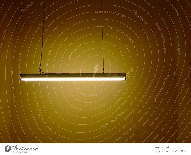 Neon weiß Wand Traurigkeit Lampe hell braun Beleuchtung Seil Dinge eng hängen Neonlicht Ocker eingeengt Hängelampe