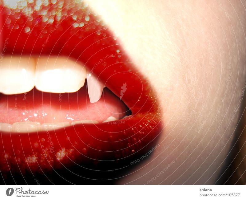 Vampire Frau weiß rot Mund Haut gefährlich Zähne Lippen Spitze Blut Zunge verführerisch