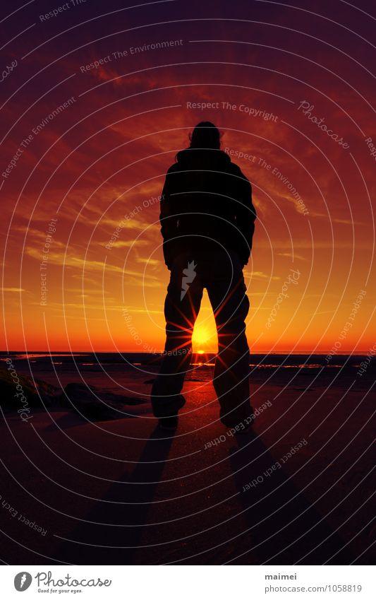 Richtung: Sonne Strand Meer Mensch Erwachsene 1 Sand Wasser Horizont Sonnenaufgang Sonnenuntergang beobachten Blick rot schwarz Zufriedenheit himmel schauen