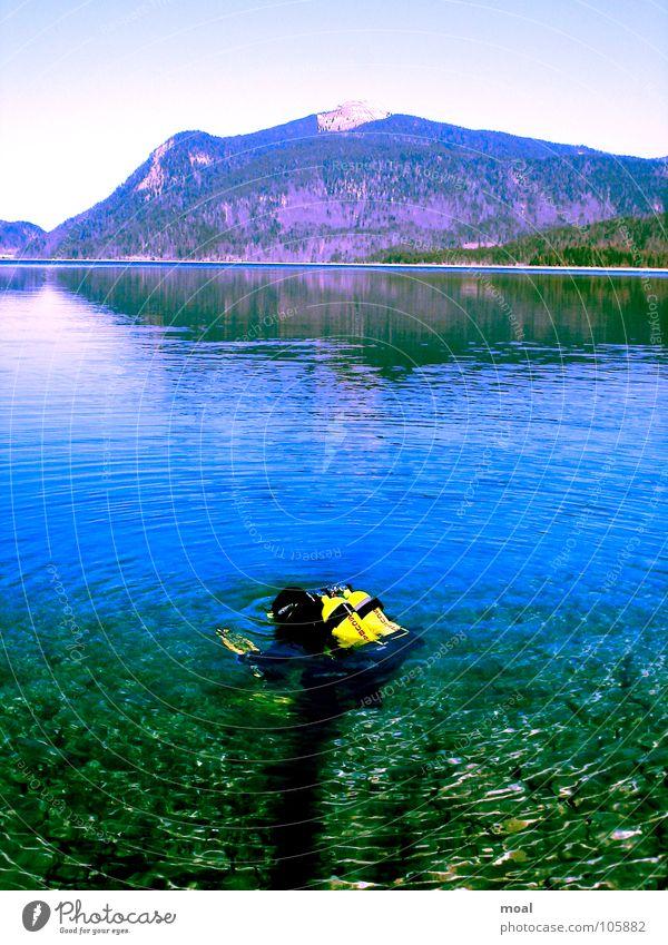 Dive your dream! Natur Wasser Himmel Ferien & Urlaub & Reisen ruhig Sport Spielen Berge u. Gebirge Freiheit träumen See Luft tauchen Taucher