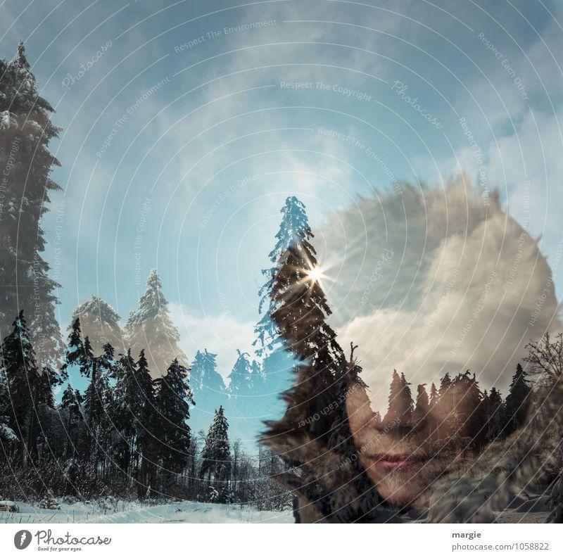 Eisprinzessin Mensch Frau Himmel Natur Ferien & Urlaub & Reisen Jugendliche blau grün Sonne Baum Junge Frau Wolken Winter Wald Erwachsene Schnee