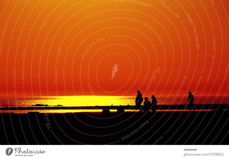 Kommt mit ans Meer Sommer Sonne Strand Wellen Mensch Familie & Verwandtschaft Sand Wasser Wärme Schwimmen & Baden Erholung gelb rot schwarz Freizeit & Hobby