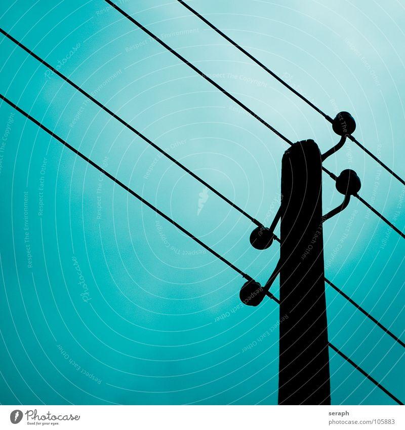 Strommast Himmel Energiewirtschaft Elektrizität Technik & Technologie Kabel Bauwerk Verkehrswege Konstruktion Draht Leitung industriell Hochspannungsleitung
