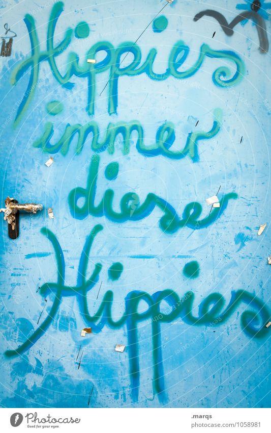 Klischee alt blau Graffiti Lifestyle dreckig Tür Schriftzeichen Kommunizieren Griff Hippie